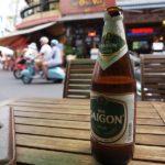 デタムのカフェでビール